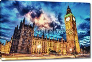 Биг-Бен и парламента в сумерках из Вестминстерского моста