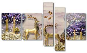 Золотые фигуры оленей