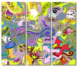 Граффити стены искусства фон. Хип-хоп стиль бесшовный ПЭТ