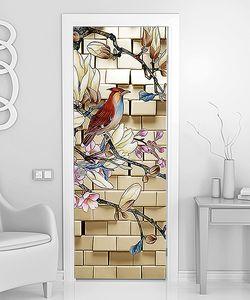 Птица на ветке у кирпичной стены