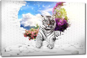 Белый тигр из стены