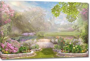 Зеленый сад в лучах солнца