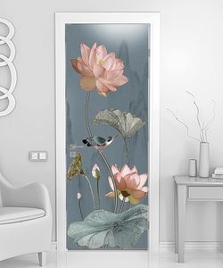 Розовые лотосы с бабочками