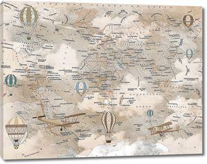 Бежевая карта мира с аэропланами