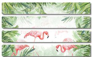 Фламинго окруженные листьями