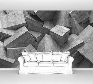 Стена бетонных кубов