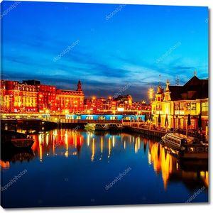 Prins hendrikkade ночью, Амстердам