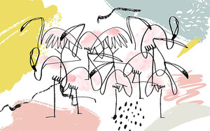 Рисованные фламинго