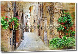 старые очаровательные улицы средневековых городов, Спелло, Италия. профессиональный