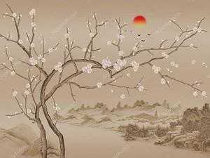 Сакура на холмах в монохроме