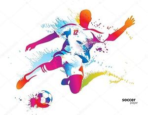 Игрок soccer ногами мяч. Красочные векторные иллюстрации w