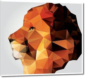Голова льва геометрического многоугольника, профиль, треугольник узор, векторная иллюстрация