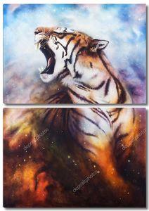 Ревущий тигр живопись