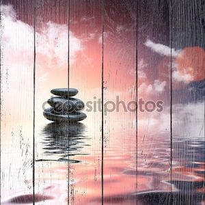 Zen камни, отражая в воды фон