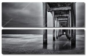 пляж Ла Хойя Калифорния длительной экспозиции под пилоны