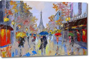 Картина маслом Эйфелева башня, Франции, искусство работы