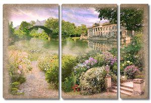 Прекрасный сад с рекой