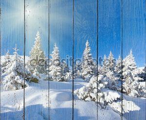 Утро зимы горный пейзаж