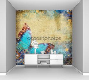 Ретро-абстрактный фон с бабочкой