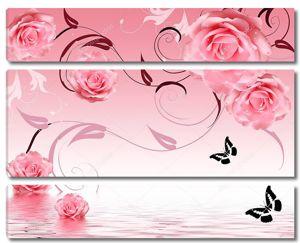 Большие розовые розы, черные контуры бабочек, отражение в воде