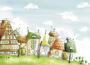 Рисунок с милыми одноэтажными домиками