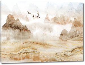 Горы на кафельной плитке