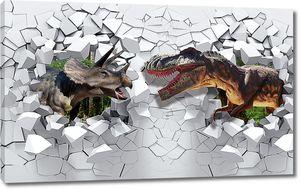Динозавры из пролома стены