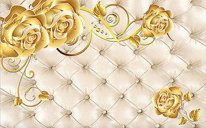Золотые розы на фоне кожаной обивки