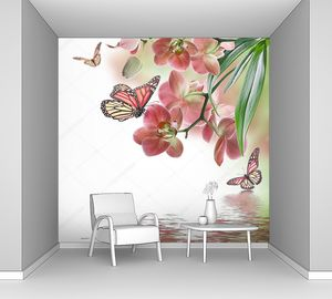 Розовая орхидея и бабочки над водой