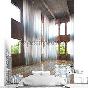 Пустой интерьер помещения с простоватыми акцентами и занавесками