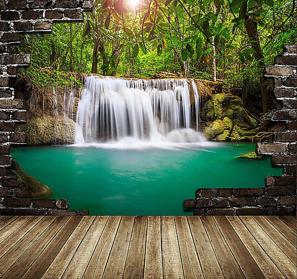 Фотообои «Вид на водопад через пролом в стене», купить в интернет-магазине «Первое Ателье»™