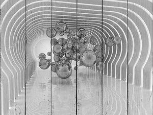 Абстрактный тоннель с металлизированными шарами