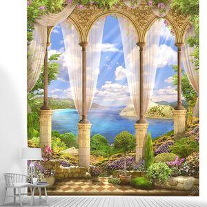 Старые каменные арки, видом на море. Цветы. Вистерия.