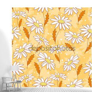 Красивые ромашки цветы бесшовный фон желтый