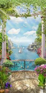 Балкон с колоннами и видом на залив