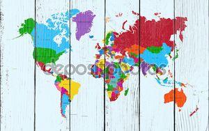 Карта мира, Атлас красочных стран eps10 векторный файл.