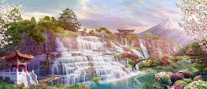 Невероятный водопад в ярком парке
