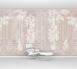 Цветы на стене в стиле рококо