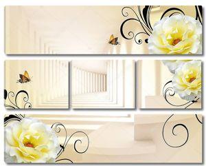Коридор, большие белые цветы, две бабочки
