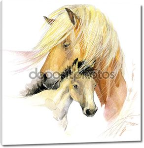 Акварель лошадь мама и малыш