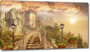 Дорога к замку на закате