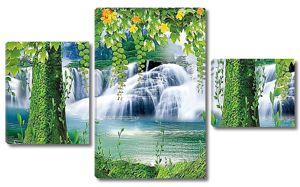 Водопад сквозь деревья