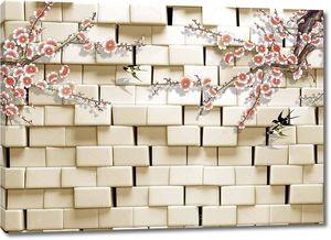 Кирпичная стена с  освещением, две цветущие ветви