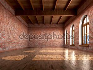 Пустая комната с деревенском отделки интерьера жилых или отключение