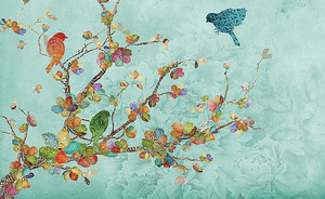 Птицы на разноцветной ветке