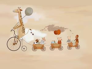Жираф на велосипеде со зверятами