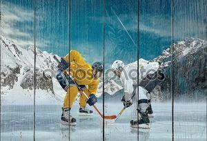 Игроки хоккея на льду в действии