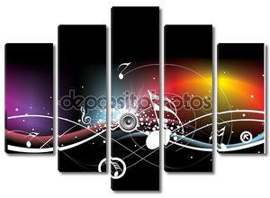 Музыкальные ноты на черном фоне