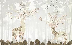 Олени с цветочным узором