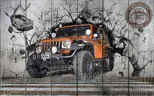 Оранжевый джип пробивает стену